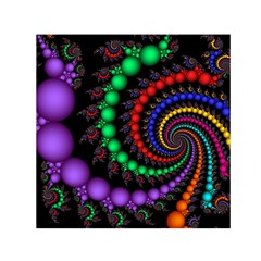 Fractal Background With High Quality Spiral Of Balls On Black Small Satin Scarf (square)