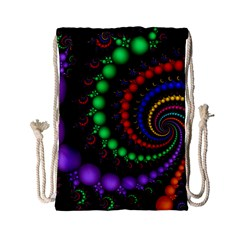 Fractal Background With High Quality Spiral Of Balls On Black Drawstring Bag (small)