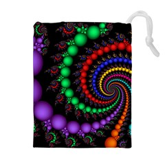Fractal Background With High Quality Spiral Of Balls On Black Drawstring Pouches (Extra Large)
