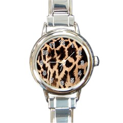 Yellow And Brown Spots On Giraffe Skin Texture Round Italian Charm Watch
