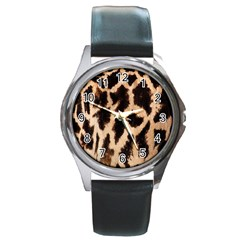 Yellow And Brown Spots On Giraffe Skin Texture Round Metal Watch