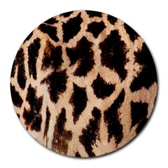 Yellow And Brown Spots On Giraffe Skin Texture Round Mousepads