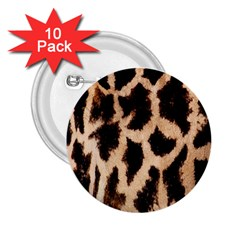 Yellow And Brown Spots On Giraffe Skin Texture 2 25  Buttons (10 Pack)