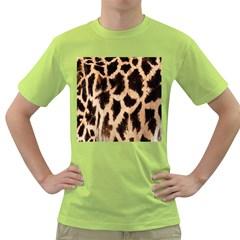 Yellow And Brown Spots On Giraffe Skin Texture Green T Shirt