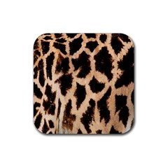 Yellow And Brown Spots On Giraffe Skin Texture Rubber Square Coaster (4 Pack)