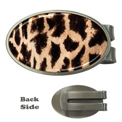 Yellow And Brown Spots On Giraffe Skin Texture Money Clips (oval)