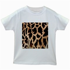 Yellow And Brown Spots On Giraffe Skin Texture Kids White T Shirts