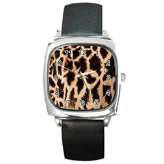 Yellow And Brown Spots On Giraffe Skin Texture Square Metal Watch