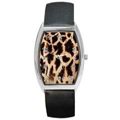Yellow And Brown Spots On Giraffe Skin Texture Barrel Style Metal Watch