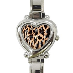 Yellow And Brown Spots On Giraffe Skin Texture Heart Italian Charm Watch