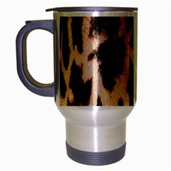 Yellow And Brown Spots On Giraffe Skin Texture Travel Mug (Silver Gray)