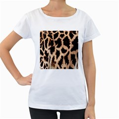 Yellow And Brown Spots On Giraffe Skin Texture Women s Loose Fit T Shirt (white)