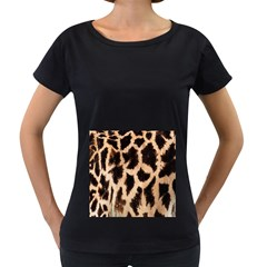 Yellow And Brown Spots On Giraffe Skin Texture Women s Loose Fit T Shirt (black)