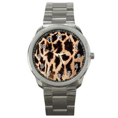 Yellow And Brown Spots On Giraffe Skin Texture Sport Metal Watch