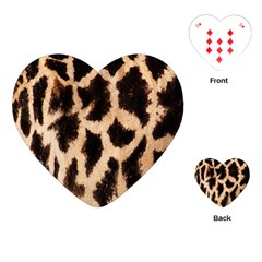 Yellow And Brown Spots On Giraffe Skin Texture Playing Cards (heart)