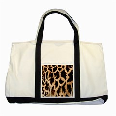 Yellow And Brown Spots On Giraffe Skin Texture Two Tone Tote Bag