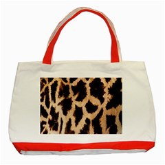Yellow And Brown Spots On Giraffe Skin Texture Classic Tote Bag (red)