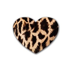 Yellow And Brown Spots On Giraffe Skin Texture Heart Coaster (4 Pack)