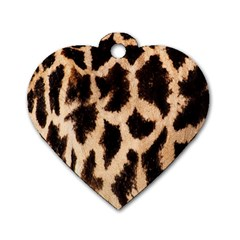 Yellow And Brown Spots On Giraffe Skin Texture Dog Tag Heart (two Sides)