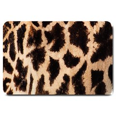 Yellow And Brown Spots On Giraffe Skin Texture Large Doormat