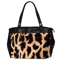 Yellow And Brown Spots On Giraffe Skin Texture Office Handbags (2 Sides)