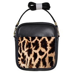 Yellow And Brown Spots On Giraffe Skin Texture Girls Sling Bags