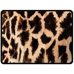 Yellow And Brown Spots On Giraffe Skin Texture Fleece Blanket (large)