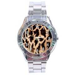 Yellow And Brown Spots On Giraffe Skin Texture Stainless Steel Analogue Watch