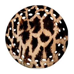 Yellow And Brown Spots On Giraffe Skin Texture Round Filigree Ornament (two Sides)