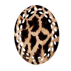 Yellow And Brown Spots On Giraffe Skin Texture Oval Filigree Ornament (Two Sides)