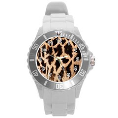 Yellow And Brown Spots On Giraffe Skin Texture Round Plastic Sport Watch (l)