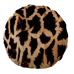 Yellow And Brown Spots On Giraffe Skin Texture Large 18  Premium Round Cushions