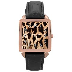 Yellow And Brown Spots On Giraffe Skin Texture Rose Gold Leather Watch