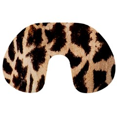 Yellow And Brown Spots On Giraffe Skin Texture Travel Neck Pillows