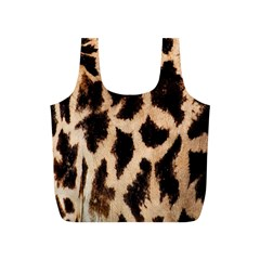 Yellow And Brown Spots On Giraffe Skin Texture Full Print Recycle Bags (s)