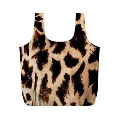 Yellow And Brown Spots On Giraffe Skin Texture Full Print Recycle Bags (m)