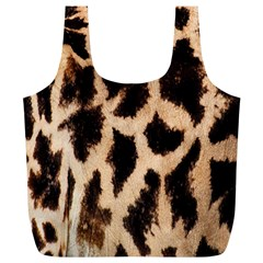 Yellow And Brown Spots On Giraffe Skin Texture Full Print Recycle Bags (l)