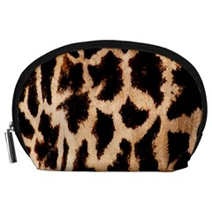 Yellow And Brown Spots On Giraffe Skin Texture Accessory Pouches (large)