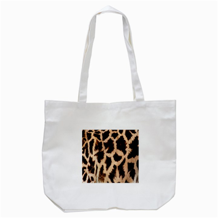 Yellow And Brown Spots On Giraffe Skin Texture Tote Bag (White)
