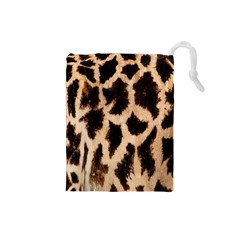 Yellow And Brown Spots On Giraffe Skin Texture Drawstring Pouches (small)