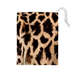 Yellow And Brown Spots On Giraffe Skin Texture Drawstring Pouches (large)