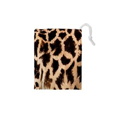 Yellow And Brown Spots On Giraffe Skin Texture Drawstring Pouches (XS)