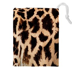 Yellow And Brown Spots On Giraffe Skin Texture Drawstring Pouches (xxl)