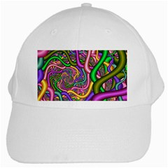 Fractal Background With Tangled Color Hoses White Cap