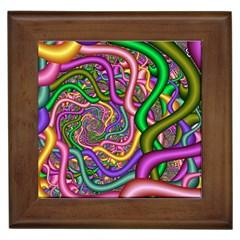 Fractal Background With Tangled Color Hoses Framed Tiles