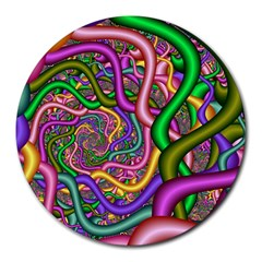 Fractal Background With Tangled Color Hoses Round Mousepads