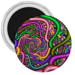 Fractal Background With Tangled Color Hoses 3  Magnets