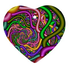 Fractal Background With Tangled Color Hoses Ornament (heart)