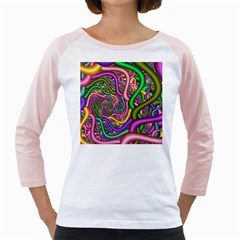 Fractal Background With Tangled Color Hoses Girly Raglans