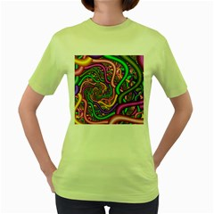 Fractal Background With Tangled Color Hoses Women s Green T Shirt